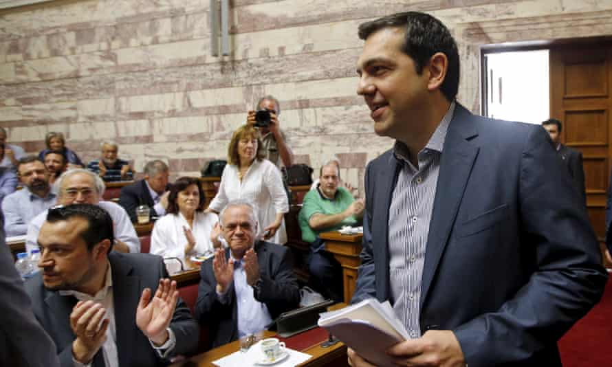 Tsipras arrives for a session at the Greek parliament.