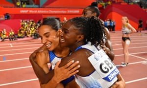 Dina Asher-Smith and Ashleigh Nelson celebrate winning silver in Doha.