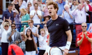 Andy Murray celebrates winning the second set of his singles rubber during Great Britain's quarter-final against France in July.