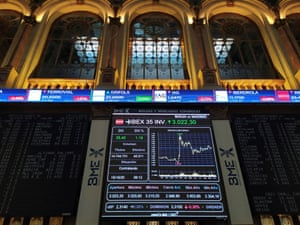 An information panel at the stock market in Madrid, Spain, today.
