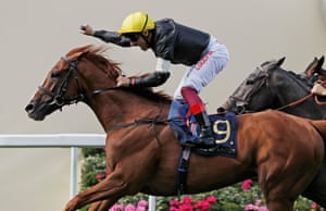 Frankie Dettori celebrates as he brings Stradivarius over the line to win the Gold Cup.