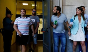 José Ángel Prenda (left) and Alfonso Cabezuelo leave a courthouse in Seville with journalists waiting outside.