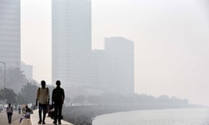 City buildings seen in heavy smog at Nariman Point, on January 30, 2016 in Mumbai, India.
