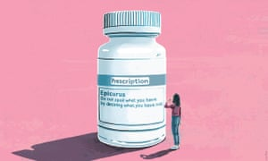 """Illustration of a woman on a pink background looking up at a giant white pill bottle with the label """"Epicurus – do not spoil what you have by desiring what you have not"""""""