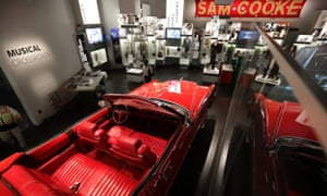 Chuck Berry's red 1973 Cadillac on display in the Musical Crossroads section of the Smithsonian's National Museum of African American History and Culture.