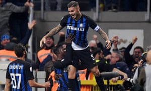 Mauro Icardi celebrates scoring the decisive goal in Sunday's Milan derby.