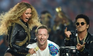 Beyoncé, Chris Martin and Bruno Mars at the 2016 Super Bowl.