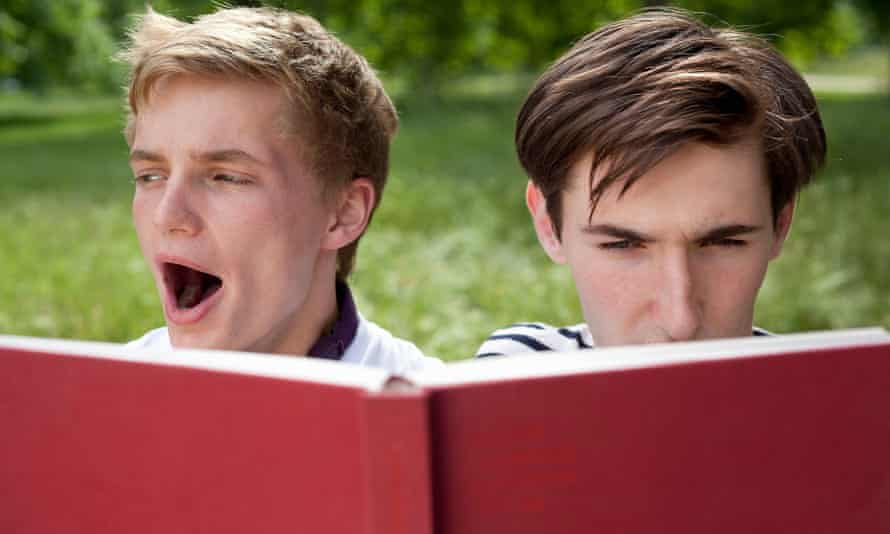 Missing the target demographic ... two teenage boys reading.