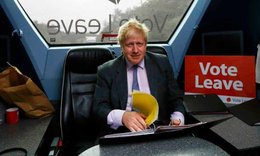 Boris Johnson on board the Vote Leave bus
