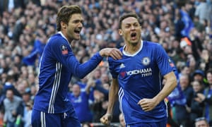Nemanja Matic celebrates with Alonso after scoring the fourth for Chelsea.