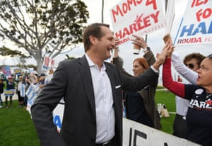 Democrat Harley Rouda greets supporters in Laguna Beach.