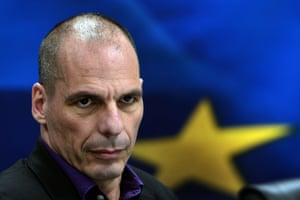 (FILES) -- A file photo taken on March 4, 2015 shows then Greek Finance Minister Yanis Varoufakis arriving to present his ministry's new secretaries at a press conference in Athens.