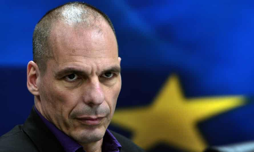 Yanis Varoufakis at a press conference in Athens in 2015