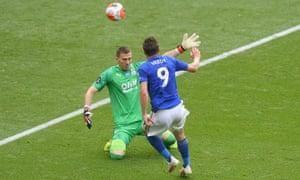 Leicester City's Jamie Vardy scores their third goal.