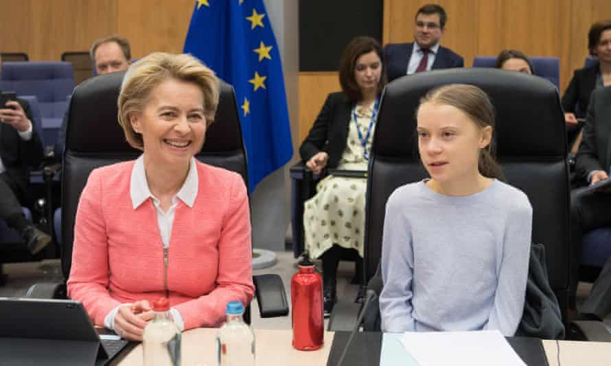 President of the European commission, Ursula von der Leyen, left, with the Swedish climate activist Greta Thunberg at a meeting of the commission in Brussels