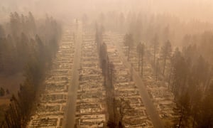 The aftermath of wildfires in Paradise, California in November. An increase in intense wildfires around the planet in the summer and autumn were attributed to the effects of climate change.