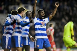 Reading defender Andy Yiadom celebrates their second goal against Nottingham Forest in January