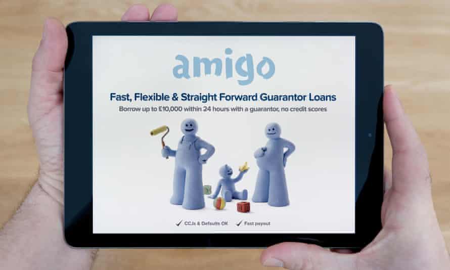 The Amigo Loans website on an iPad