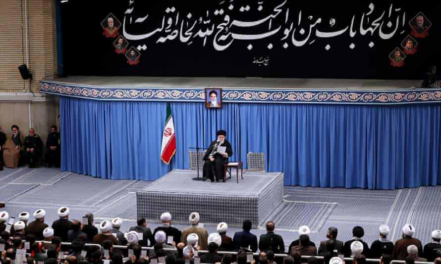 Ayatollah Ali Khamenei addresses a meeting in Tehran on Wednesday