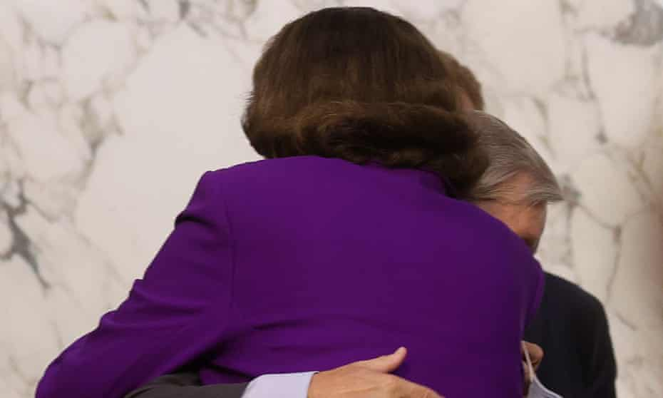 Senator Dianne Feinstein hugs senator Lindsey Graham at the conclusion of the fourth day of the confirmation hearing for Judge Amy Coney Barrett