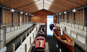 Boats in the new Windermere Jetty: Museum of Boats, Steam and Stories, Lake District, UK.