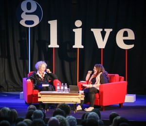 Margaret Atwood in discussion with Naomi Alderman in 2015.