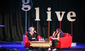 Canadian author Margaret Atwood in discussion with British novelist Naomi Alderman at a Guardian Live event at the Emmanuel Centre in Westminster, 29 September 2015.
