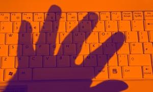 Hand over keyboard