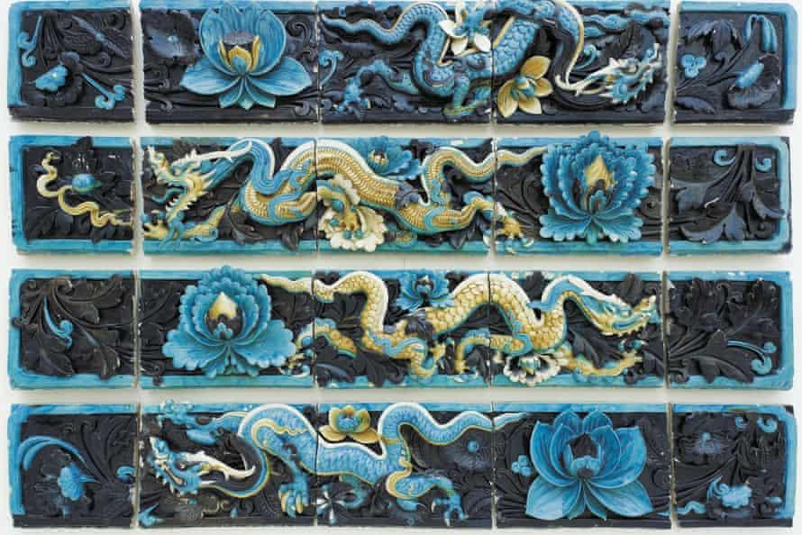Ceramic dragon tiles.