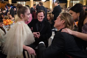 Quentin Tarantino and Brad Pitt talk to Julia Butters, who played Trudi Fraser in Tarantino's Once Upon a Time in Hollywood