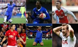 PFA player of the year shortlist: N'Golo Kanté, Romelu Lukaku, Alexis Sánchez, Zlatan Ibrahimovic, Eden Hazard and Harry Kane.