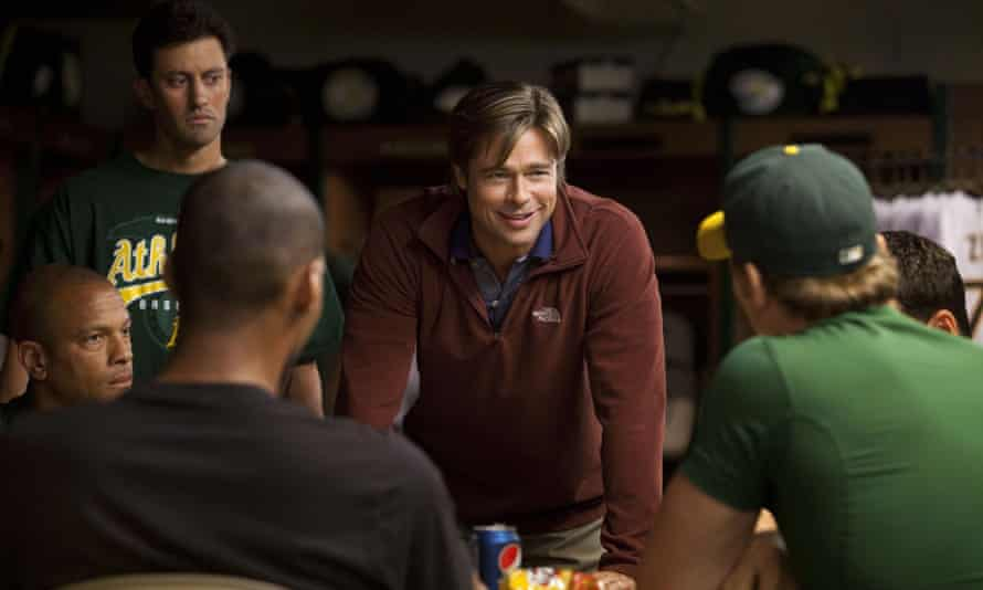 Brad Pitt as the Oakland A's general manager Billy Beane in the film version of Lewis's bestseller Moneyball, about how US baseball was reshaped by the use of statistics.