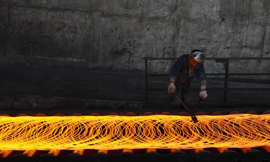 A Chinese steel worker in Changzhi, Shanxi province