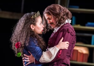 Saffron Coomber as one of the Emilias with Charity Wakefield as William Shakespeare