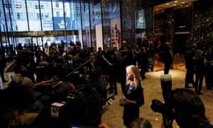 Kellyanne Conway speaks to reporters at Trump Tower in New York.