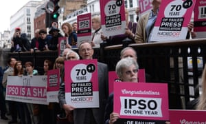 Hacked Off supporters staging a protest in 2015 about Ipso's alleged failings.
