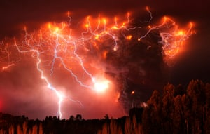 The skies above southern Chile the day after an eruption in the Puyehue-Cordón Caulle volcanic chain. An average of 230 earthquakes an hour were recorded in the region before the eruption, which blew an ash cloud six miles high and produced storms of volcanic lightning.