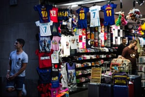 Stall selling replica football shirts in Barrio Gotico, Barcelona.