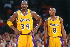A young Bryant alongside Shaquille O'Neal in November 1996.