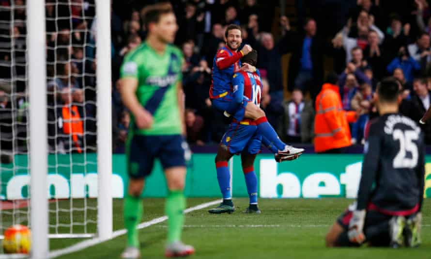 Yohan Cabaye celebrates with Yannick Bolasie after scoring Crystal Palace's first goal against Southampton at Selhurst Park.