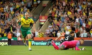 Teemu Pukki after scoring Norwich's third goal against Man City.