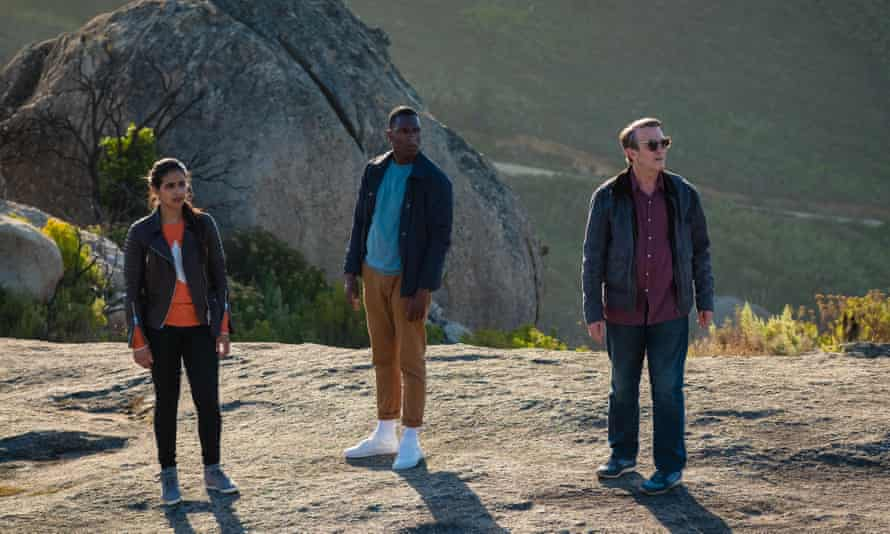 Mandip Gill as Yaz, Tosin Cole as Ryan and Bradley Walsh as Graham.