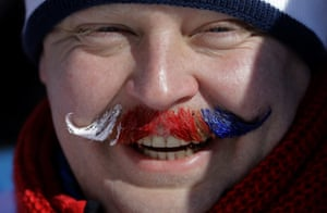 Moustache-painting, the less seen variant of face-painting, here demonstrated by a supporter of the Czech Republic