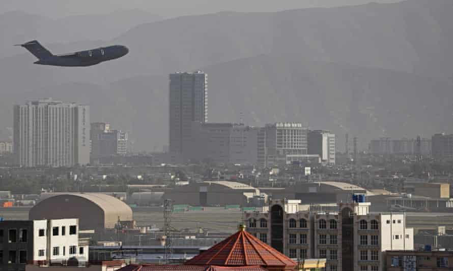 A US military aircraft takes off from Kabul on Friday