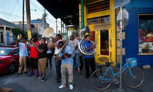 local musicians playing in the street corner of Frenchmen Street and Chatres Street.