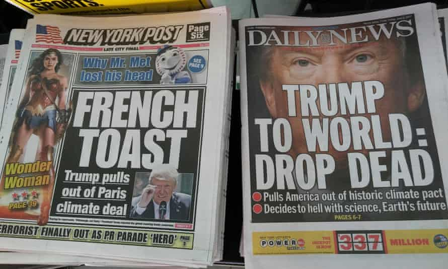 front pages of two new york newspapers with contrasting headlines about the withdrawal of the us from the paris climate agreement, june 2017