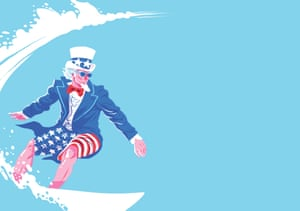 Uncle Sam surfing