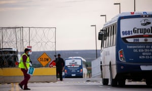 Mexican employees of an assembly factory are transferred to the US by bus to receive a dose of coronavirus vaccine, as seen from Guadalupe.