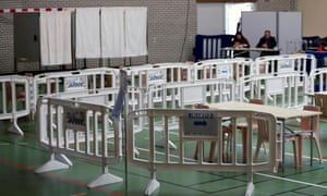 View of a polling station during the first round of mayoral elections in Carnac