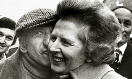 Margaret Thatcher gets a kiss from Petticoat Lane stallholder Lew Pickle, on an East End walkabout in 1979.